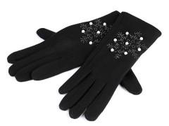 Női kesztyű hópehely gyöngyös - Fekete